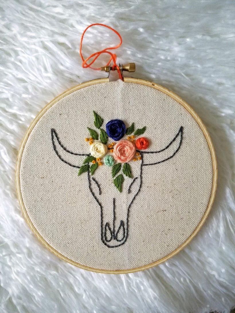 Floral Cow Skull Embroidery hoop free template