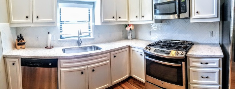 Kitchen Redo Update Quartz Marble Subway Tile Herringbone backsplash