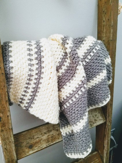 DIY Grey and White Crochet Knit Fair Isle Modern Baby Blanklet