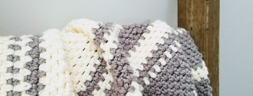 DIY Grey and White Crochet Knit Fair Isle Modern Baby Blanket