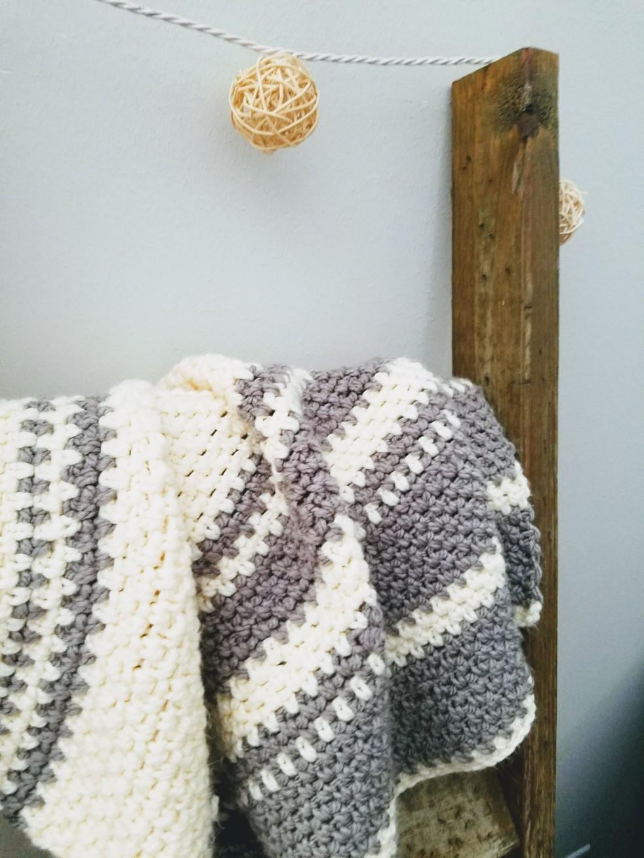 DIY Grey and White Crochet Knit Fair Isle Modern Baby Blanket