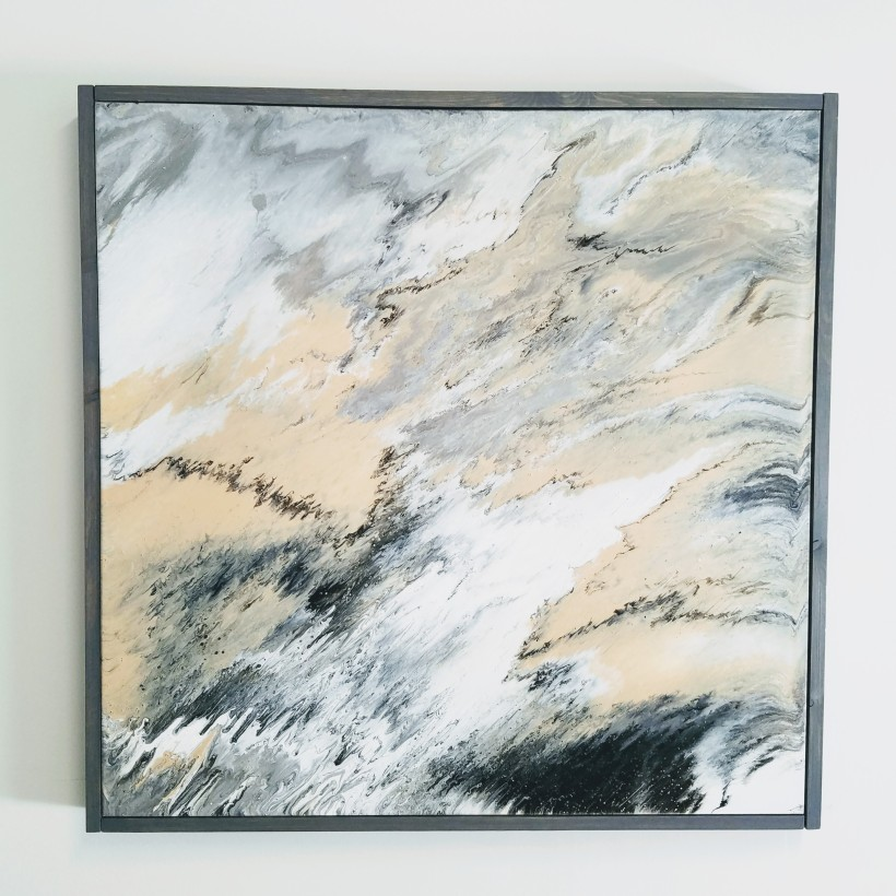 Neutral Abstract Art Fluid Acrylic DIY Frame