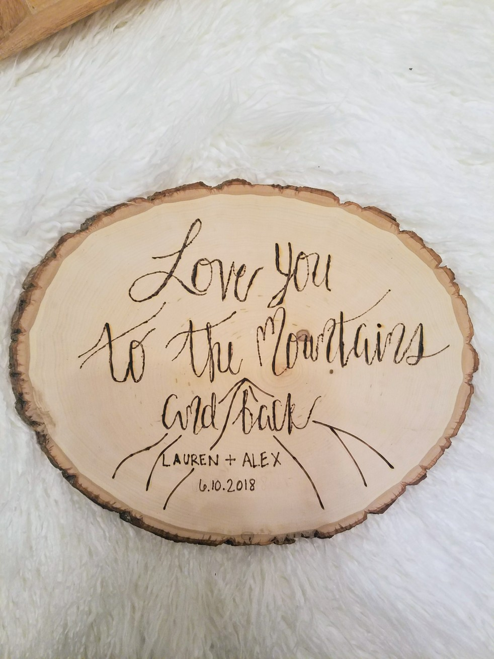 Love you to the mountains and back mountain wedding sign decoration